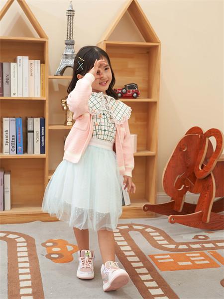 快乐精灵童装品牌2021秋冬薄款粉色针织衫外套
