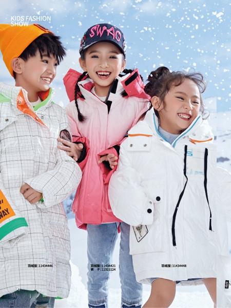 JOJO童装品牌2021秋冬格子纹路中长款纯棉羽绒服