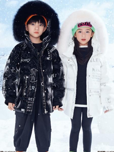 JOJO童装品牌2021秋冬白色英文印花针织羊绒棉衣外套