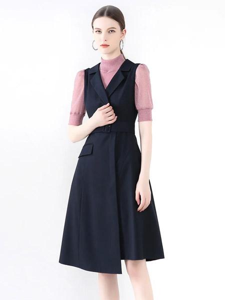 紅凱貝爾女裝品牌2021秋季V領黑色純棉修身連衣裙