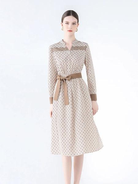 紅凱貝爾女裝品牌2021秋季V領波點褶皺系帶純棉連衣裙