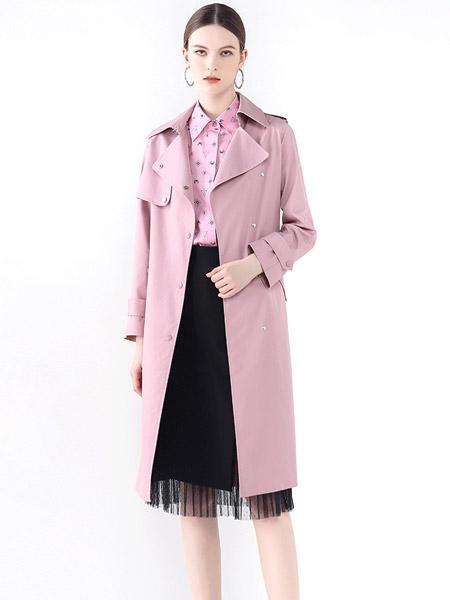 紅凱貝爾女裝品牌2021秋季粉色時尚寬松外套