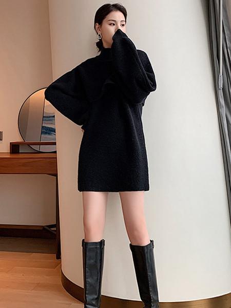 珂希莉女装品牌2021秋季圆领羊绒针织连衣裙