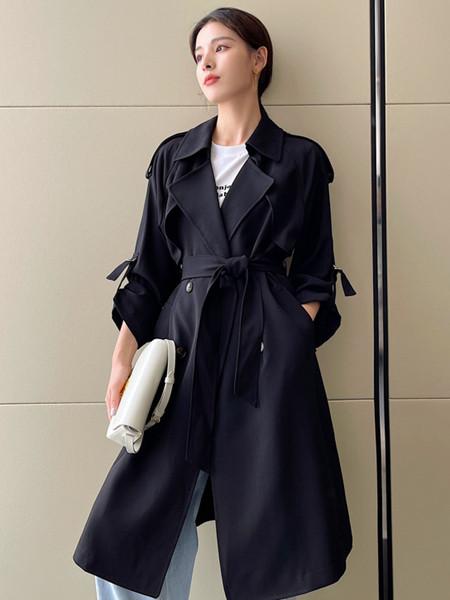 珂希莉女装品牌2021秋季宽松系带修身纯棉外套
