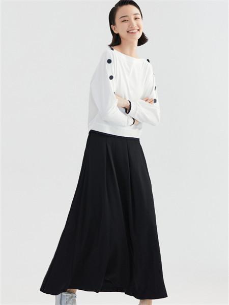 禹妃 女裝品牌2021秋季黑色純棉半身裙