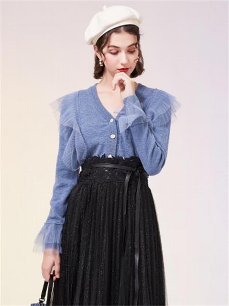 EF女装品牌2021秋季纯色V领纱纱边羊绒针织衫