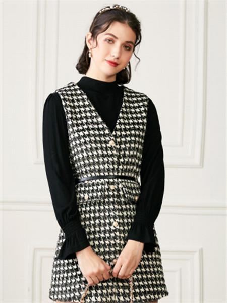 EF女装品牌2021秋季V领格子纹路连衣裙套装