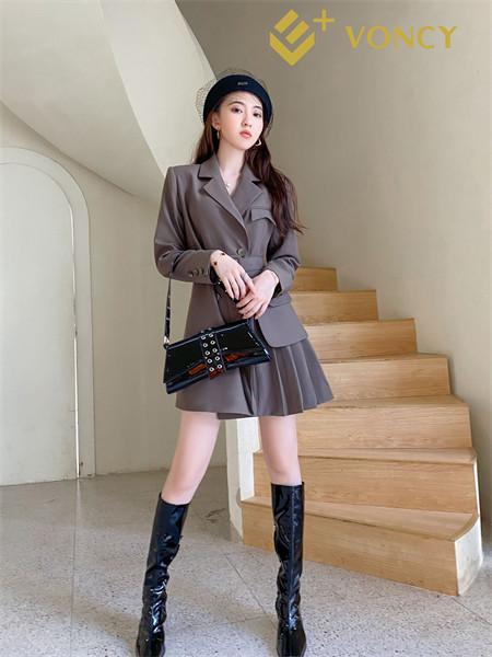 E+voncy女裝品牌2021秋季時尚校園風收腰外套套裝