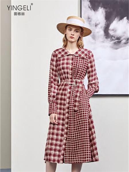 YINGELI 茵格麗女裝品牌2021秋季拼接色修身系帶純棉連衣裙
