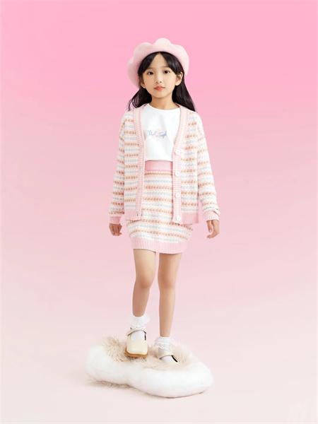 小猪班纳童装品牌2021秋季条纹针织衫两件套