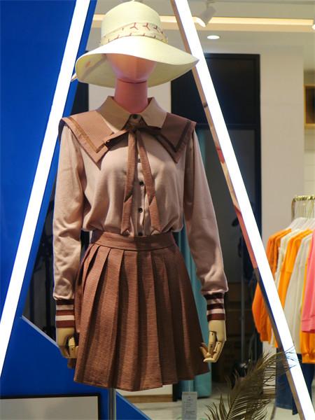 集娴女装品牌2021秋季甜美雪纺系带衬衫两件套