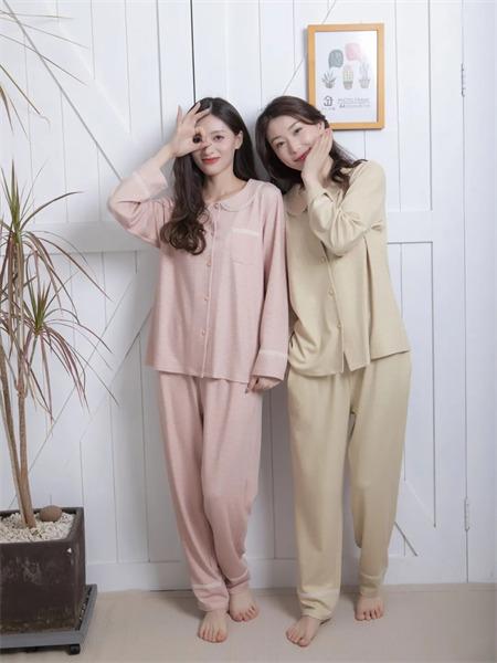 欧林雅内衣品牌2021秋季闺蜜款翻领丝光棉衬衫睡衣套装