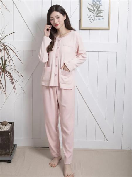 欧林雅内衣品牌2021秋季棉麻纯色衬衫睡衣