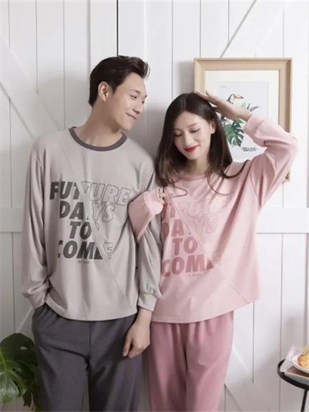 欧林雅内衣品牌2021秋季情侣款圆领英文刺绣睡衣套装