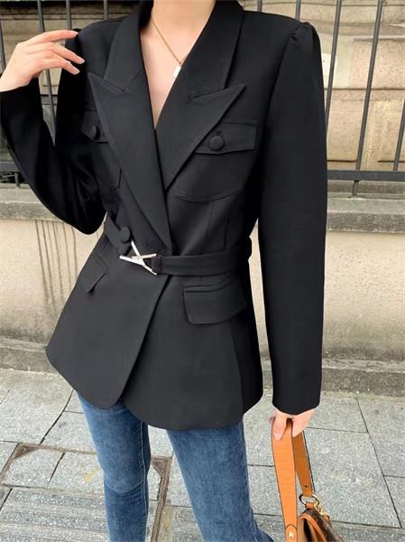 简诣女装品牌2021秋冬系带纯棉外套