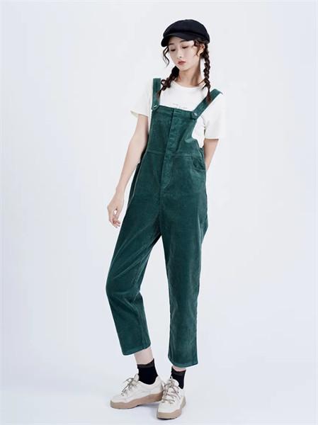 薇薇希女装品牌2021秋季通勤风绿色背带裤