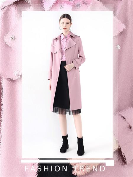 红凯贝尔女装品牌2021秋冬薄款翻领宽松风衣