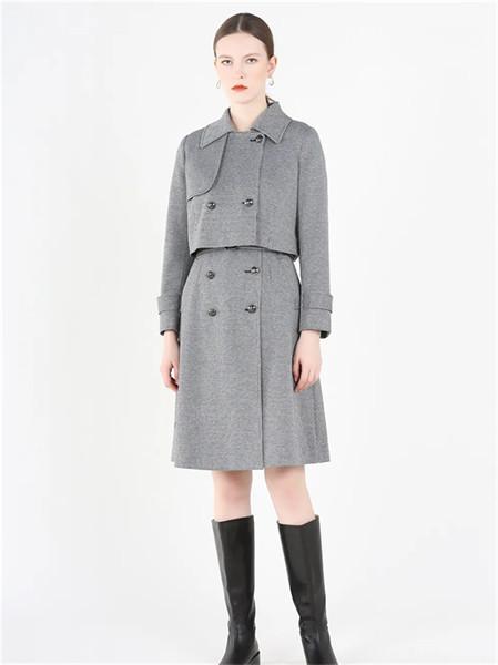 紅凱貝爾女裝品牌2021秋冬純色翻領棉麻兩件套