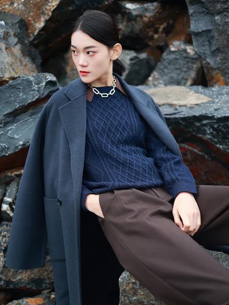 基弟女装品牌彩38平台2021秋冬蓝色百搭显瘦大衣外套