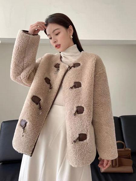 珂希莉女�b品牌2021冬季棕色羊羔毛外套